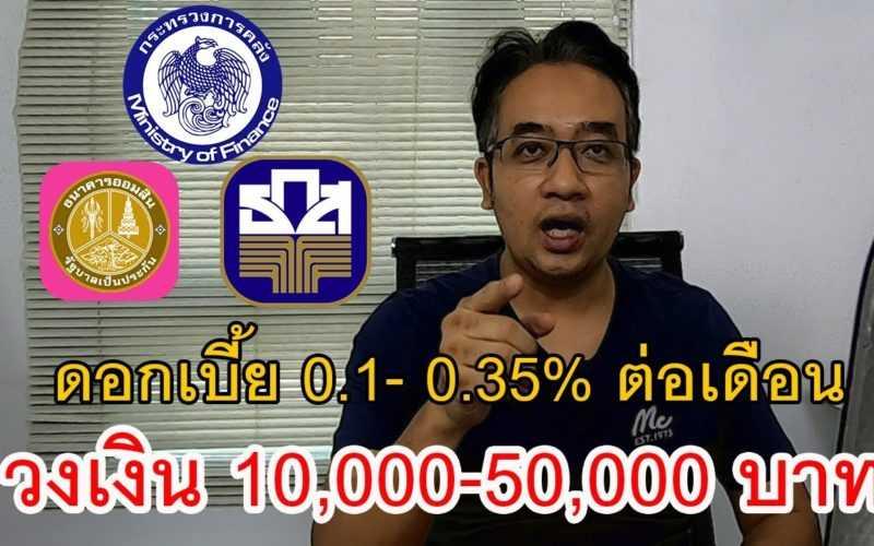 สินเชื่อดอกเบี้ยต่ำ 0.1 – 0.35 % ต่อเดือนวงเงิน 10,000 – 50,000 บาทสำหรับคนตกงานและธุรกิจรายย่อย